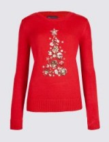 M&S COLLECTION Embellished Christmas Tree Novelty Jumper / red xmas jumpers / Marks and Spencer festive knitwear