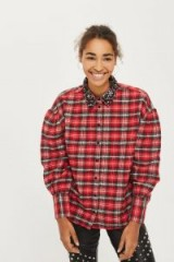 Topshop Embellished Collar Check Shirt / red checked shirts