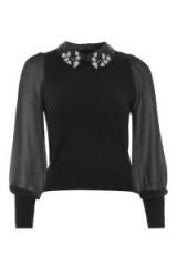 Topshop Embellished Necklace Jumper   sheer chiffon sleeved jumpers