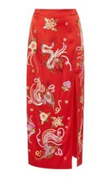 Attico Envers Satin Skirt | red embroidered pencil skirts | oriental style embroidery