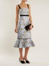 ERDEM Eunice floral-jacquard dress ~ blue flared hem dresses