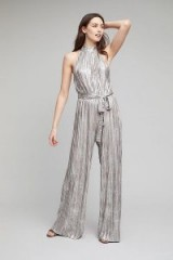 Anthropologie Evelyn Metallic Pleated Jumpsuit ~ silver luxe jumpsuits