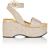 FABRIZIO VITI Daisy-Buckle Brocade Platform Sandals | beige and gold platforms