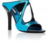 FABRIZIO VITI Summer Fever Metallic Leather Mules | shiny blue cut out heels