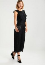 Fashion Union SEA Jumpsuit black | lace ruffle trim jumpsuits