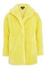 Topshop Chartreuse Faux Fur Coat / fluffy yellow coats