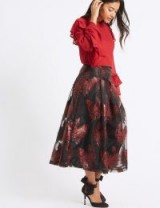 M&S COLLECTION Feather Flared Jacquard A-Line Midi Skirt | sheer overlay skirts | party fashion