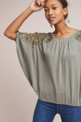 Vanessa Virginia Feather-Cloaked Top | grey embellished batwing tops