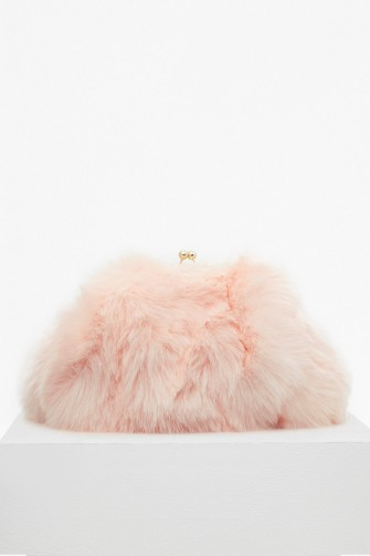 FRENCH CONNECTION FISOLA FUR CLUTCH BAG   fluffy peach evening bags ... 4242035456