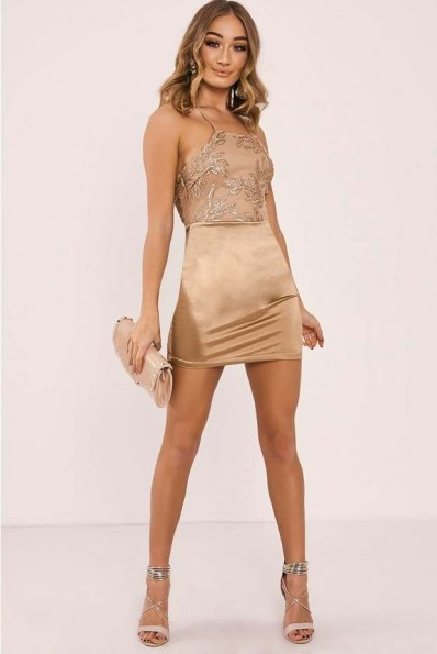 IN THE STYLE FLANNA GOLD SEQUIN LEAF BACKLESS BODYCON DRESS ~ luxe style party dresses ~ evening glamour