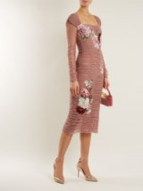 DOLCE & GABBANA Floral-embroidered stretch-cotton tulle dress ~ pink ruched dresses ~ beautiful Italian clothing
