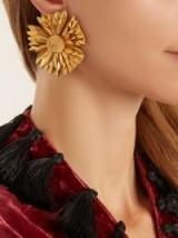 REBECCA DE RAVENEL Flower clip-on earrings ~ large gold tone flower jewellery