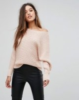 Forever New Slouchy Off Shoulder Jumper ~ blush pink jumpers