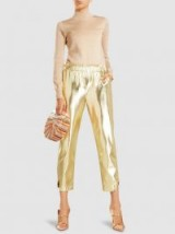 ‎FRAME‎ Metallic Faux Leather Cropped Trousers ~ gold crop leg pants