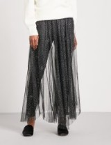 FREE PEOPLE Bright Star glittery tulle skirt – sheer black maxi skirts