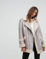 French Connection Metallic Faux Shearling Jacket ~ silver jackets ~ luxe style coats