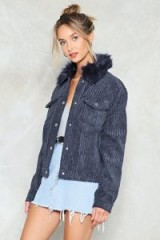 NASTY GAL Fur Your Love Corduroy Jacket ~ navy-blue fur collar jackets