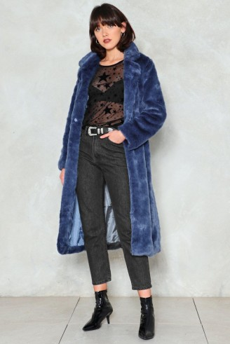 NASTY GAL Fur-Tune Teller Longline Coat ~ long blue winter coats
