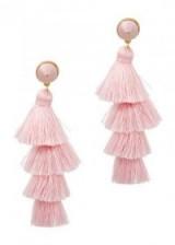 BAUBLEBAR Gabriela gold-plated tassel earrings | light pink tassels | party jewellery