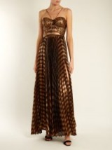 MARIA LUCIA HOHAN Gaia striped pleated lamé gown ~ metallic bronze gowns