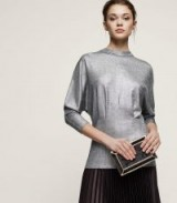 REISS GALE HIGH-NECK METALLIC TOP SILVER ~ glamorous batwing evening tops ~ party clothing