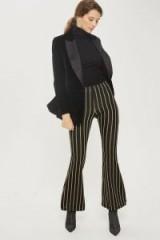 Topshop Glitter Stripe Flare Trousers   glittering stripy flares