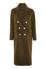 Topshop Gold Button Double Breasted Coat / longline khaki coats