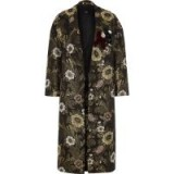 River Island Gold floral jacquard brooch embellished coat ~ luxe style