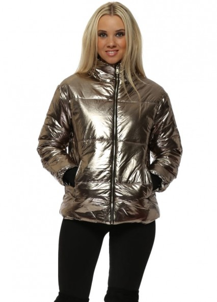 FRENCH BOUTIQUE Gold Foil Look Quilted Jacket ~ metallic padded jackets ~ casual glamour