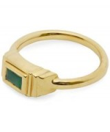 MONICA VINADER Gold-Plated Green Onyx Baja Deco Ring / gemstone rings
