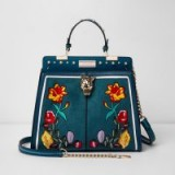 River Island Green jaguar head floral embroidered tote bag | top handle bags