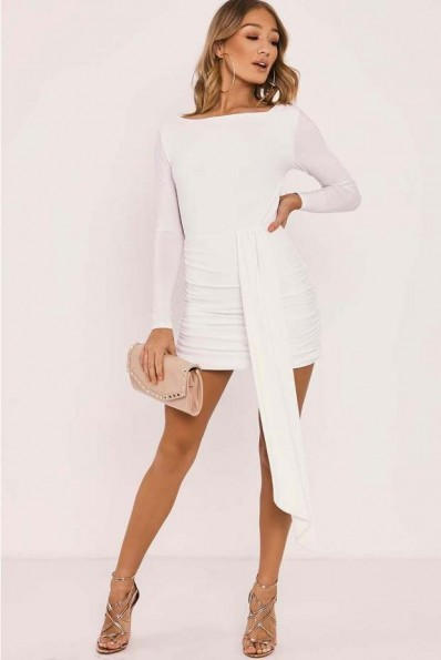 IN THE STYLE HAILEY WHITE SLINKY DRAPE FRONT BACKLESS MINI DRESS ~ open back party dresses