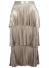 A.L.C. Harley pleated tiered lamé midi skirt ~ luxe gold midi skirts