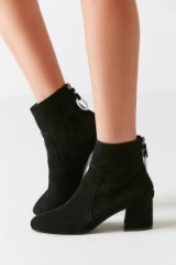 Harlow Suede O-Ring Black Ankle Boots