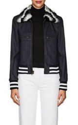 HARVEY FAIRCLOTH Faux-Fur-Trimmed Denim Bomber Jacket | casual luxe jackets