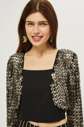 TOPSHOP Heart Sequin Jacket ~ short party jackets ~ embellished bolero