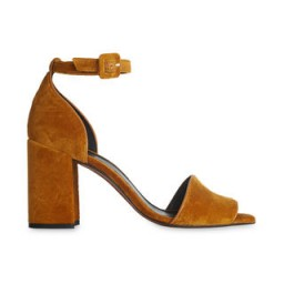 WHISTLES Hedda Velvet Block Heel Sandal / mustard-yellow chunky heeled sandals