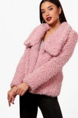 boohoo Heidi Wrap Faux Fur Coat – fluffy rose-pink coats – winter jackets
