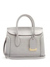 ALEXANDER MCQUEEN Heroine crocodile-effect grey leather tote | designer handbags