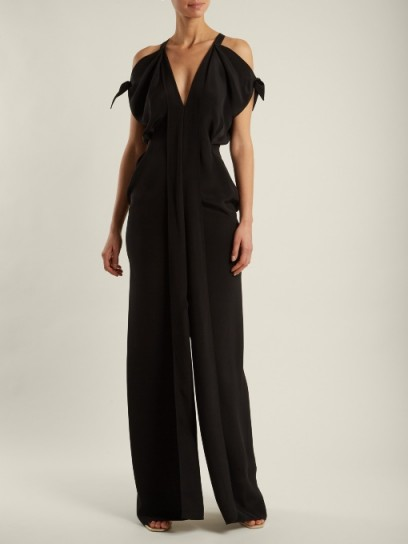 ROLAND MOURET Hessle open-shoulder silk-crepe gown ~ chic cold shoulder gowns ~ long black evening dresses