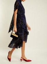 PETER PILOTTO High-neck tiered floral-devoré dress ~ luxe burnout dresses ~ asymmetric hem ~ ruffled