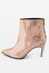 Topshop HOOPLA Ankle Boots ~ shiny rose gold booties