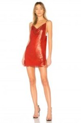 WILLA SLIP DRESS in LUST | red metallic cami dresses | strappy chainmail party fashion