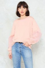 Nasty Gal How Low Can You Faux Fur Sweater – pink fluffy sleeved sweaters