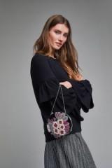 St Xavier Imelda Embellished Velvet Crossbody | round beaded bags