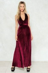 NASTY GAL In the Evening Velvet Jumpsuit – merlot red plunge front wide leg pleated jumpsuits – going out party style