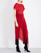 ISABEL BENENATO Flared-hem semi-sheer silk dress – red asymmetric dresses