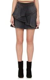 ISABEL MARANT ÉTOILE Coati Ruffle Denim Skirt | grey ruffled skirts