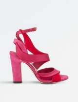 JIMMY CHOO Falcon 100 suede and satin heeled sandals / hot pink heels / sexy party shoes