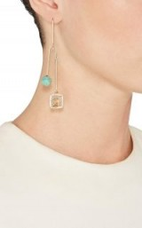 JULIE WOLFE Mixed-Gemstone Double-Drop Wire Earring ~ single statement earrings ~ contemporary jewellery